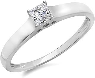 Dazzlingrock Collection 14K Princess Cut Diamond Lucida Solitaire Bridal Engagement Ring, White Gold