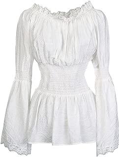 Women's Long Sleeve Off Shoulder Lace Trim Blouse Tops