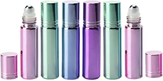 6PCS 0.34oz / 10ml Upscale Glass Empty Refillable Perfume Essential Oil Roll-on Bottles with Metal Roller Balls Liquid Lip...