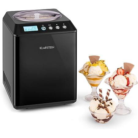 KLARSTEIN Vanilla Sky - Machine à crème glacée, Prête en 10 à 60min, Compresseur, Pas de congélation l'avance, Verre doseur, Récipient 2,5L - Noir