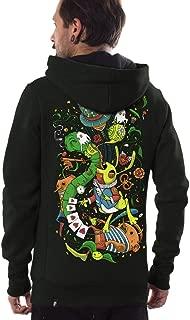 Men's Pullover Hoodie Colorful Psychedelic Print Alice in Wonderland Design