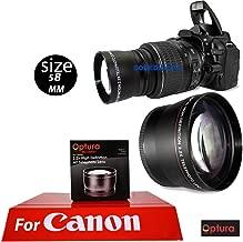 OPTURA HD Photo 58MM Telephoto 2.2X Lens for Canon Rebel EOS T1 T2 T3 T4 T5 T6 SL1 SL2 SL3 XSI XTI T7 T3I T5I T4I 7D 80D + OPTURA Micro Fiber Cloth