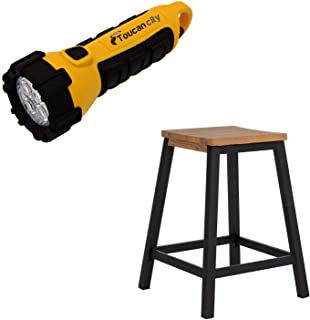Toucan City LED Flashlight and Sunjoy Outdoor Steel Counter Height Bar Stool with Decorative Wood Finish A213000302