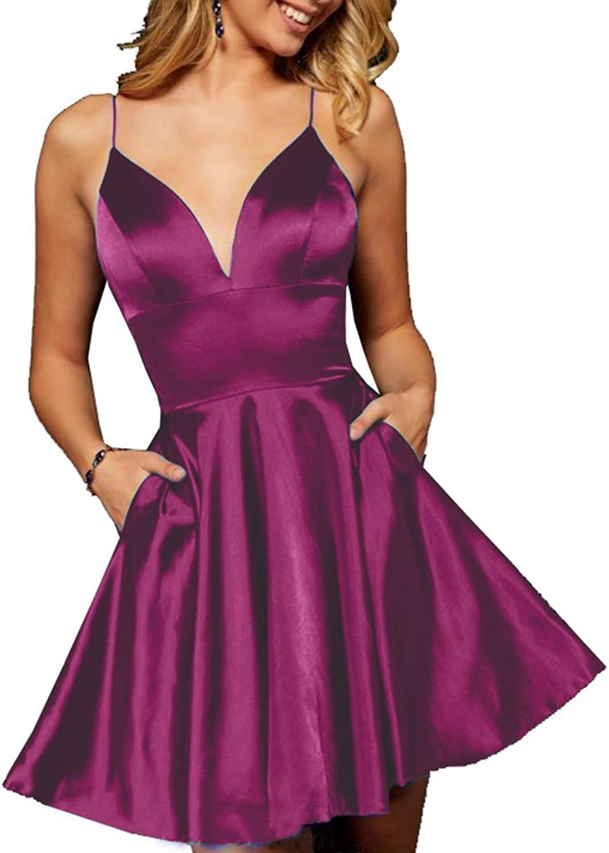 JQLD Elegant Satin V Neck Backless Short Homecoming Prom Dresses Graduation Girls