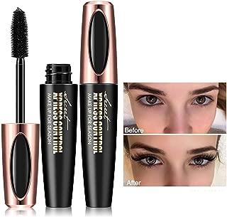4D Silk Fiber Lash Mascara, 2 Pieces Waterproof Long Lasting Eyelash Mascara, Silicone Brush Head, Smudge-Proof, Black