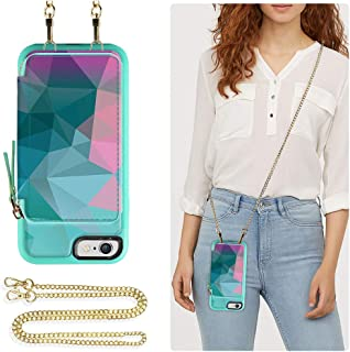 ZVE Wallet Case for Apple iPhone 6s and iPhone 6, 4.7 inch, Leather Wallet Case with Crossbody Chain Credit Card Holder Slot Zipper Pocket Purse Wrist Strap Case for Apple iPhone 6 / 6s - Diamond