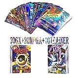 WOJIM - 100 Piezas Pokemon Cartas,Tarjetas de Pokemon,Pokemon Trading Cards,Cartas Pokemon Game Battle Card,70GX+20MEGA+10TRAINER