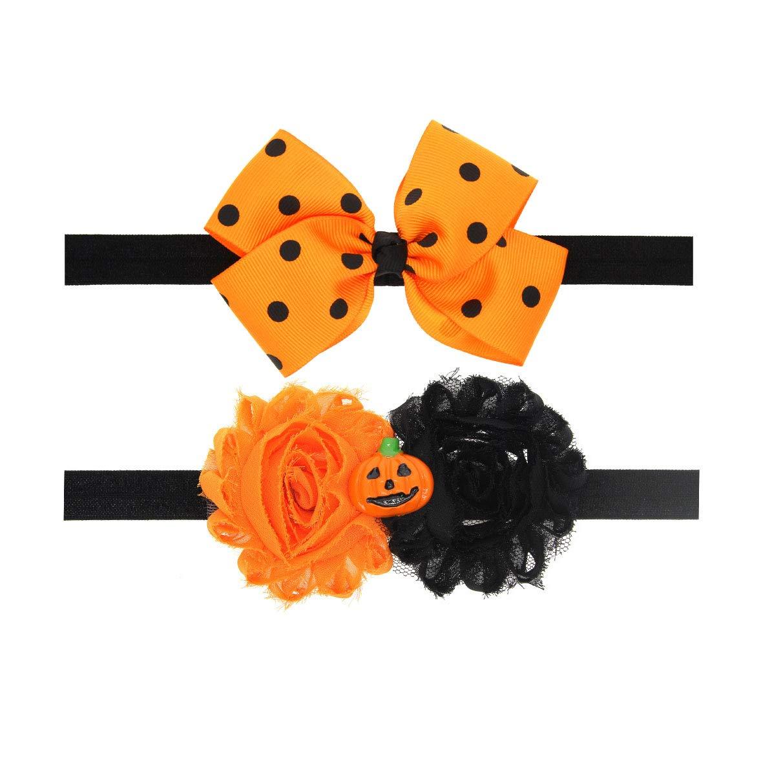 Baby Halloween Pumpkin Headband Infant Hair Band Girls Halloween Headdress JHH05 (2 Pcs-Set E)