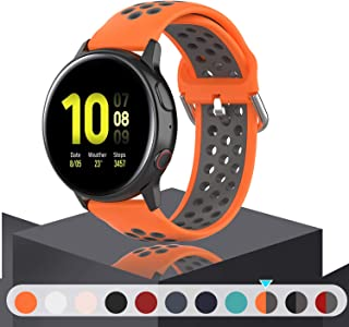 Geageaus Replacement Band for Samsung Galaxy Watch Active 2 40mm/ 44mm,20mm Silicone Quick Release Sport Strap Breathable Wristband for Galaxy Watch 42mm/Gear S2/Gear Sport(Orange/Gray)