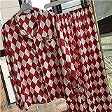 Pijamas Mujer,Inicio Primavera Plaid Manga Larga De Impresión Mujer Pijama Set Suave Satén Pantalones Pijama Rojo Suelto Y Casual De Moda Soft Plus Size Pijamas Set,Imagen,L