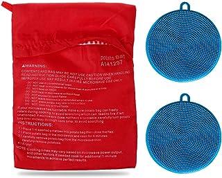 Kit de sacs à pommes de terre de qualité supérieure pour micro-ondes, avec 2 brosses à récurer en silicone pour légumes (B...