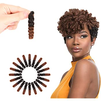 Miman 5 Packs 10 Inch Short Crochet Braiding Carrie Bounce Curl Crochet Hair for Women Synthetic Braiding Hair Black to Brown(#1B/30)