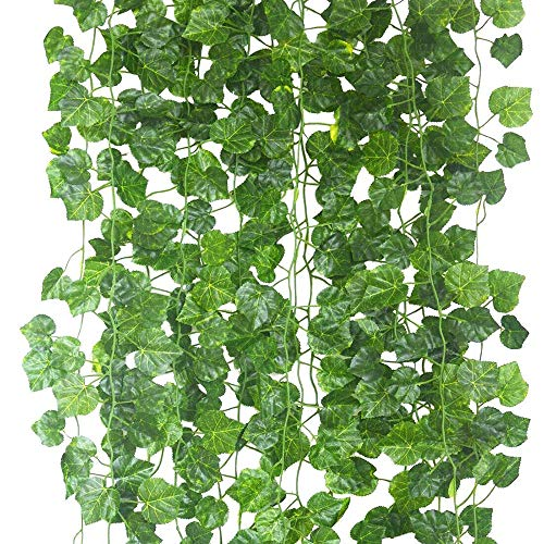 Echodo 82 Ft Artificial Ivy Leaf Garland Fake Hanging Plants Grape Silk Ivy Vine Garlands Wall Crafts Christmas Party Decoration
