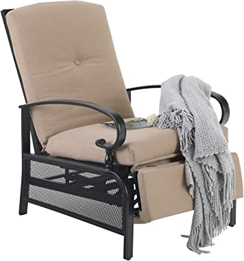 PHI VILLA Patio Adjustable Recliner Lounge Chair with Strong Metal Frame for Outdoor Relaxing - Beige Cushion