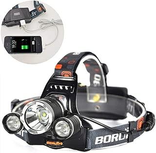 Boruit 3Pcs Cree XM-L2 Led Headlight 6500LM Long-range 500m Ultra Bright Night Lamp (Headlamp+2Pcs 18650+Charger)