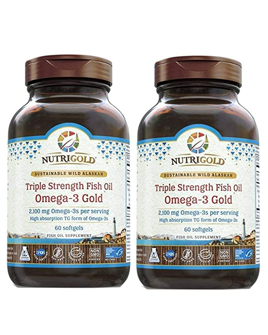 Nutrigold Omega-3 GOLD - Triple Strength - 60 Softgels - 1,250 mg (Pack of 2)
