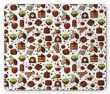 Tapis de Souris au Chocolat, Bonbons et Bonbons aux fèves de Cacao Morceau de gâteau à la crème glacée à la Fraise, Tapis de Souris antidérapant en Caoutchouc de Taille Standard, Multicolore,Tapis en