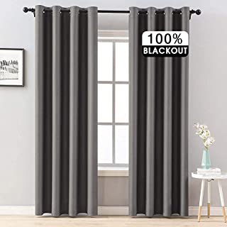 MIULEE 100% Blackout Curtains Thermal Insulated Solid Grommet Curtains/Drapes/Shades for Bedroom Living Room 2 Panels, Pol...