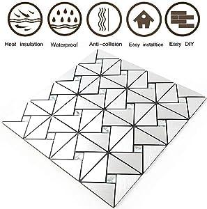 "HomeyMosaic Peel and Stick Tile Backsplash Stick on Kitchen Wall Decor Aluminum Surface Metal Mosaic Smart Tiles Wall Sticker,Windmill Puzzle Glass Mixed(12""x12""x 5 Sheets)"