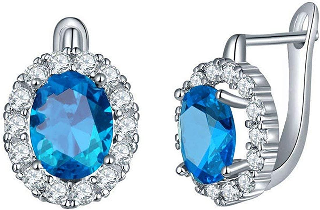 Yellow Chimes Crystals from Swarovski Stylish Clip On Studs Earrings for Women and Girls Party Wear Fashion Jewellery (Blue)