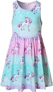 Girls Unicorn Dresses Sleeveless Summer Elastic Waist...