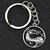<span class='highlight'><span class='highlight'>WANM</span></span> Mortal Kombat Keychain Dragon Symbol Logo Scorpion Antique Silver Color Keyring Key Chain Ring Vintage Game Alloy Pendant