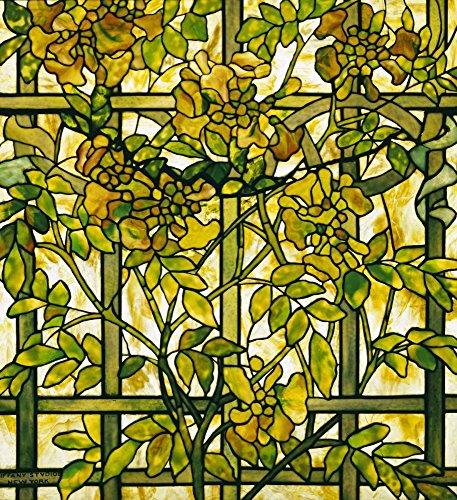 AFDRUKKEN-op-GEROLDE-CANVAS-Wijnstok-van-de-trompet-TiffanyStudios-Bloemen-Afbeelding-gedruckt-op-canvas-100%-katoen-Opgerolde-canvas-print-Kunstdruk-op-ge-Afmeting-78_X_73_cm
