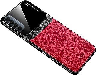 جراب لهاتف Oppo Reno 4 Pro من الجلد الناعم من السيليكون غطاء حماية زجاجي Reno4 Pro - أحمر