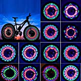 Luces de Rueda de Bicicleta VANGE, Impermeables 32 Luces LED de Radios de Bicicleta Ultrabrillantes para Niños Adultos, 30 Patrones Diferentes Que Cambian Visibles Desde Todos los ángulos