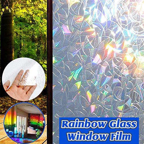 FeiliandaJJ Fensterfolie Selbsthaftend Blickdicht [45x300cm] 3D Regenbogen Dekorfolie Sichtschutzfolie - Regenbogeneffekt Unter Sonnenschein - Für Zuhause Bad Schlafzimmer (Mehrfarbig)