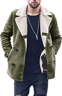 Mens Sherpa Jacket Fleece Lined Jacket Double Breasted Winter Coat Shearling Collar Slim Fit Warm Outerwear