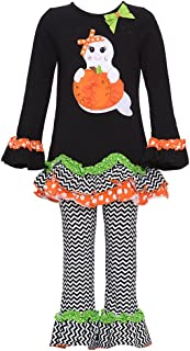 Little Girls' Black Ghost Applique Ruffle Leggings 2-pc Outfit