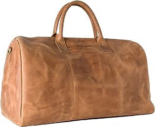 HOLZRICHTER Berlin No 13-1 L - Premium Weekender Reisetasche, Sporttasche und Handgepäck aus Leder - Camel-braun