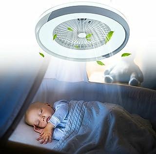 Plafonnier LED de 23,5 pouces + télécommande 3 couleurs de plafond, à intensité variable, ventilateur de plafond silencieu...