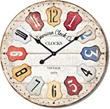 Generic Retro Ancient Style Digital Wall Clock, Cream, 60 cm, Hlz1F248
