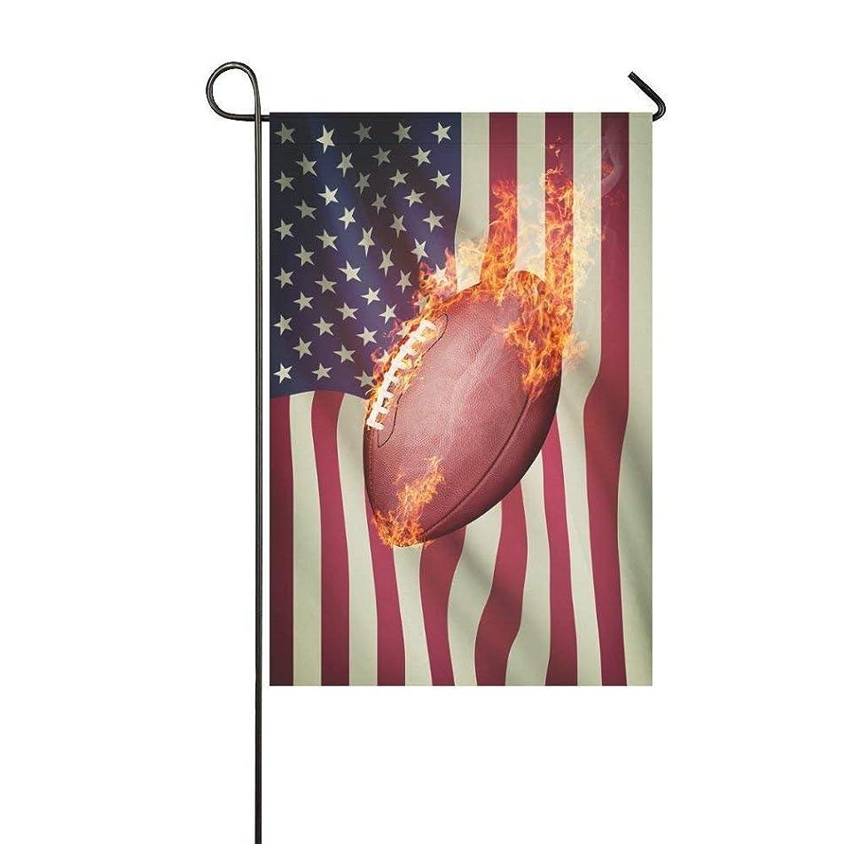 心からアサート夜の動物園アメリカンフットボールで火災ポリエステルガーデンフラッグハウスバナー、ヴィンテージ装飾フラッグパーティーヤードホーム屋外の装飾12×18インチ