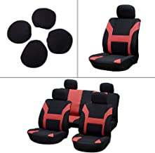 Seat Cover cciyu Universal Car Seat Cushion w/Headrest - 100% Breathable Washable Automotive Seat Covers Replacement Replacement fit for Most Cars(Red on Black)