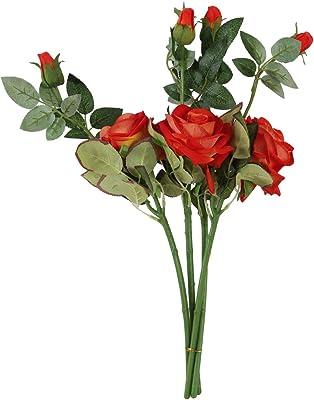 Fourwalls Artificial Rose Stick (Orange, Set of 2)
