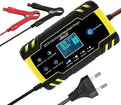 URAQT Chargeur de Batterie Intelligent 8A 12V/24V, Portable LCD Écran avec Protections Multiples Type de réparation pour Batterie de Voiture Moto
