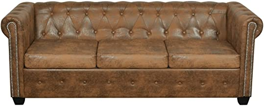 Festnight Chesterfield Brown Sofa Bed Multi-seat with Thickly Padded Cushions Comfortable and Elegant Artificial Leather