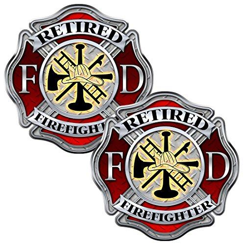 AZ House of Graphics Retired Firefighter Diamond Plate Maltese Cross 2 Pack Stickers - #FS2029