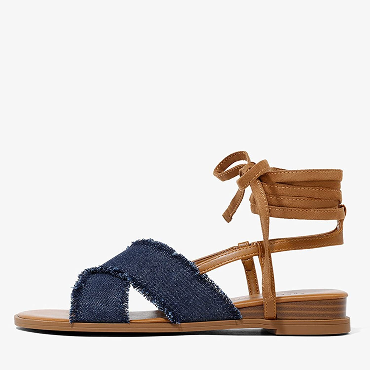 LIUXUEPING Exotic Wind Low with Open-Toe Sandals Shallow Mouth Fashion Sandals Cross Straps Canvas Roman shoes