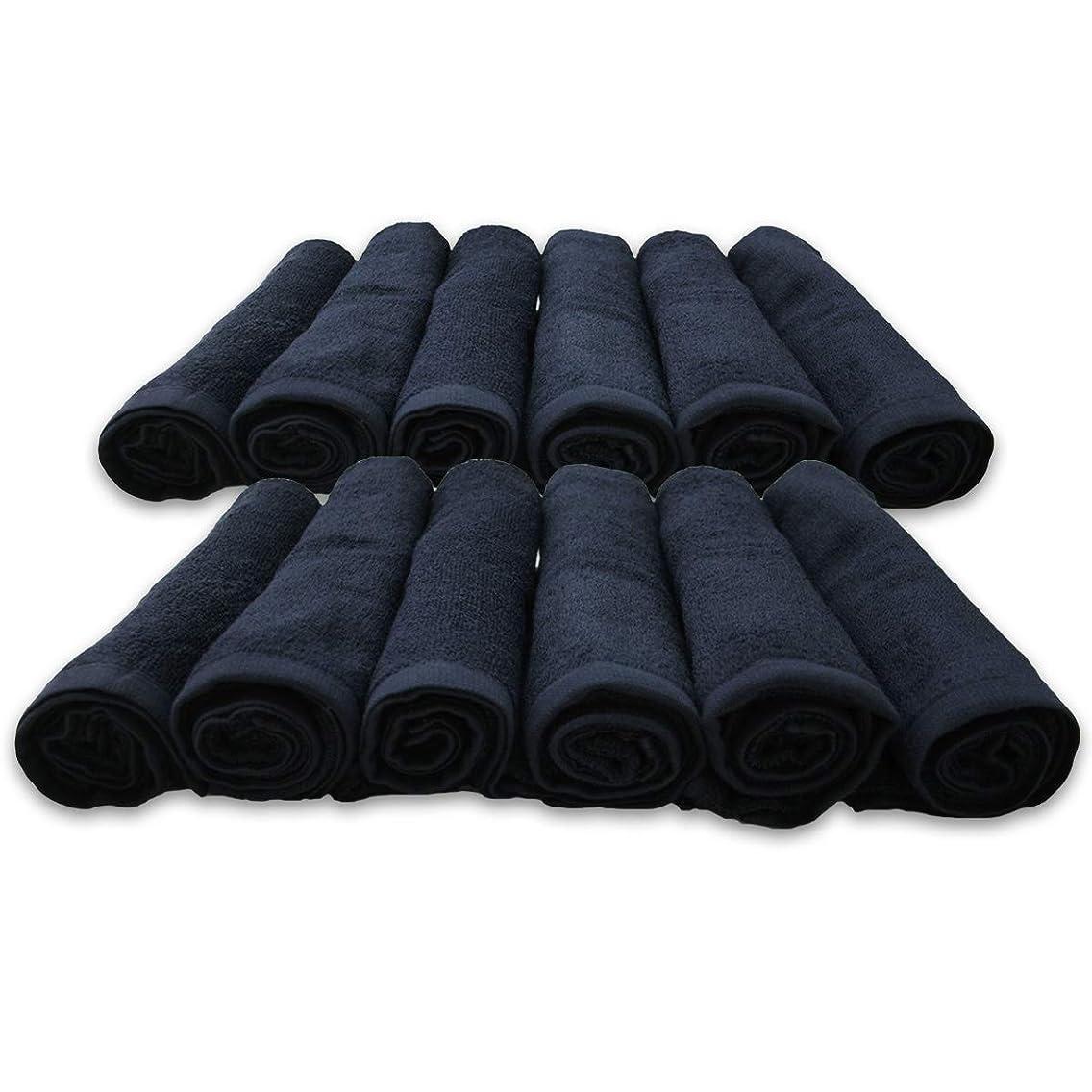 ドレス武器リットルフェイスタオル 業務用 12枚セット 34×86cm 240匁 色落ちしにくいスレン染め 02-060-12P (ブラック)