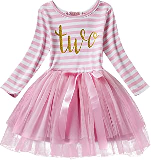 Baby Girl Long Sleeve 1st/2nd/3rd Birthday Party Cake Smash Tutu Dress Stripes Crown Printed Tulle Outfits
