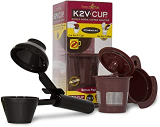 Perfect Pod K2V Cup Adapter, Reusable Filter, and EZ-Scoop   Compatible with Keurig VUE Single-Serve Coffee Brewer (Reusable K-Cup + Coffee Scoop)