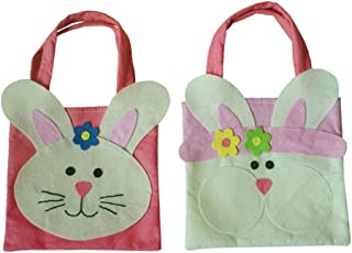 F Fityle Pack Of 2 Lovely Easter Rabbit Bunny Handbag Fabric Tote Kids Gift Egg Bags