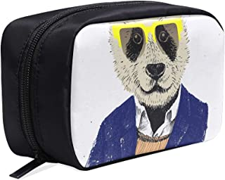 Dressed Up Hipster Panda In Glasses Portable Travel Makeup Cosmetic Bags Organizer Multifunction Case Small Toiletry Bags For Women And Men Brushes Case