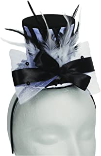 Loftus International Halloween Steampunk Fancy Mini Top Hat Headband Black White One Size Novelty Item