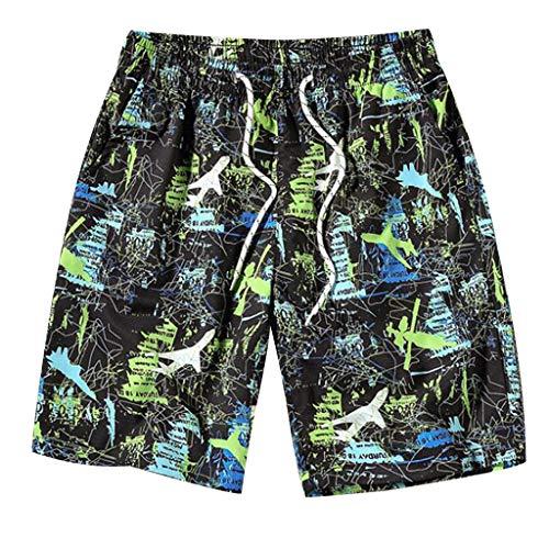 Yowablo Badehose für Herren Badeshorts Schnelltrocknend Surfen Strandhose Surf Shorts Atmungsaktive Hosen Beach Print Laufende Schwimmunterwäsche (3XL,1Mehrfarbig)