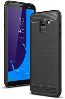 COPHONE Funda Samsung Galaxy J6 2018, Negro Silicona Fundas para J6 2018 Carcasa Fibra De Carbono Funda Case